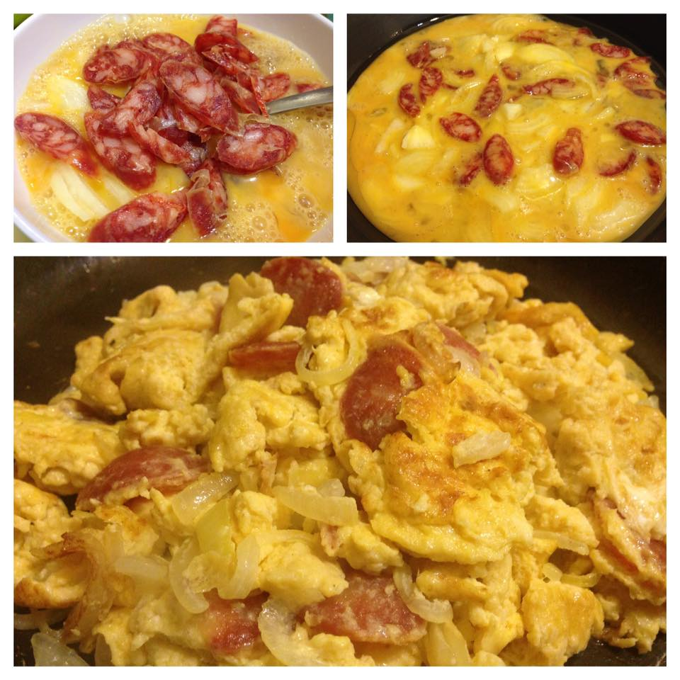 EGG OMELETTE WITH CHINESE SAUSAGE